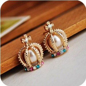 Wholesale Jewelry 12pairs/Lot Charms Colorful Rhinestone Big Simulated-pearl Crown Cross Stud Earrings C22R8(China (Mainland))
