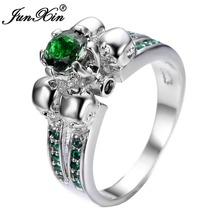 Великолепный Зеленый Череп Кольцо Старинные Обручальные Кольца Для Женщин Стерлингового Серебра Способа 925 Ювелирные Изделия Bague Femme Anies RW1221(China (Mainland))