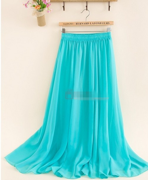Wholesale Women's Chiffon Long Mopping Pleated Skirt Beach Skirt Europe America 16Colors 2015 New Spring Summer(China (Mainland))