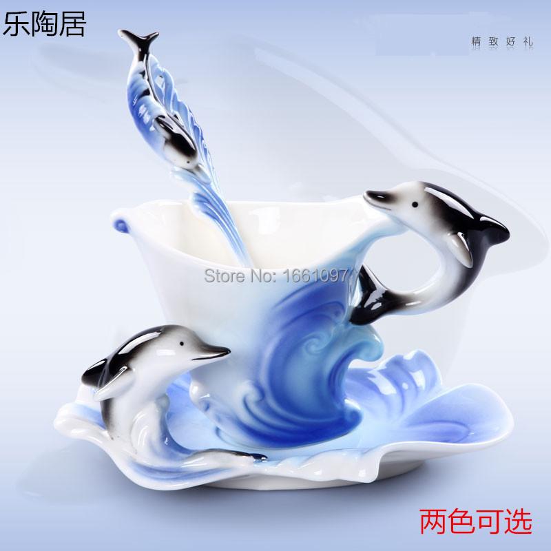 Coffee cup Tea cup Fashion European style Bone China creative dolphin coffee cup Exquisite ceramic tea