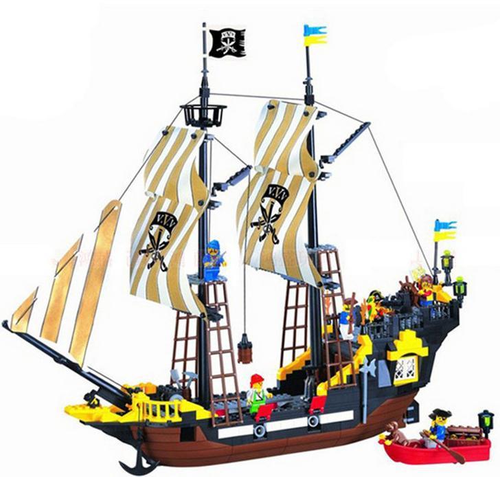 Large scale Building Blocks Sets Jack Sparrow Adventure pirate ship 3D ...