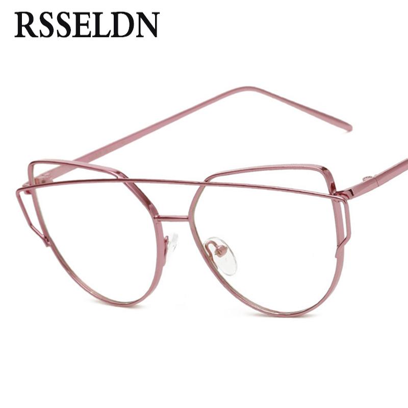 rsseldn newest fashion women eyeglasses frames brand designer cat eye glasses clear lens eyeglasses men vintage