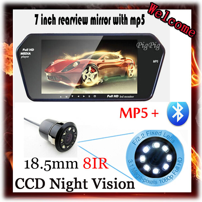 7'' LCD 1024*600 Car Mirror Monitor With Bluetooth MP5 For Backup Reverse Night vision 8 IR LED Rear View Camera Parking Assist(China (Mainland))