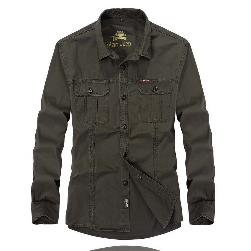 High quality men s casual long sleeve cargo shirt military for Mens military style long sleeve shirts
