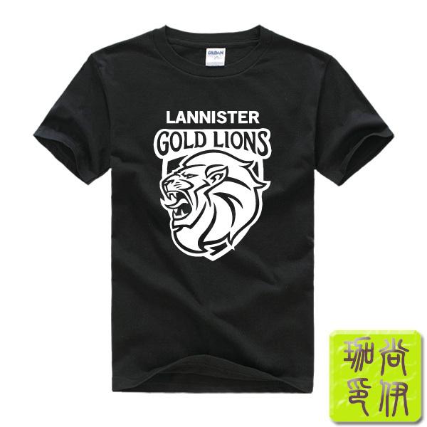 Game of Thrones House Lannister Gold Lions Printed Men T Shirt Camisetas Masculinas 2015 Manga Curta Camisa Masculina Tshirt(China (Mainland))