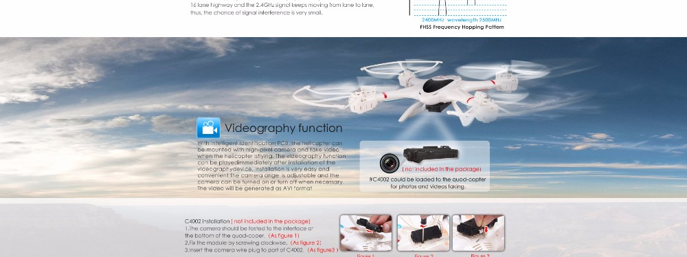 MJX X400-V2 100% Original RC Drone 2.4G 4CH 6-Axis RTF RC Helicopter Quadcopter without C4002/C4005 /C4006FPV HD Camera
