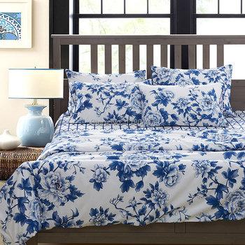 Китайский стиль синий и белый фарфор шаблон комплект постельных принадлежностей 4 шт. 100% египетского хлопка пододеяльник король королева размер