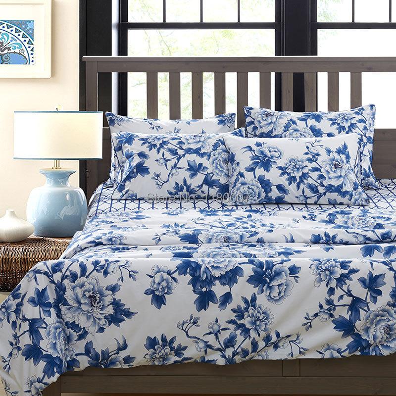 Style chinois bleu et blanc porcelaine motif ensemble de literie 4 pcs 100 coton gyptien - Housse de couette coton egyptien ...
