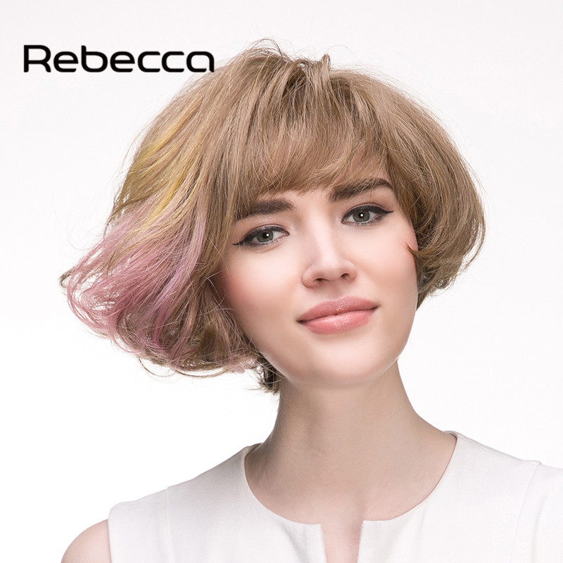 Здесь можно купить  Rebecca Blended Human Hair Wigs Synthetic Wigs Free Shipping Ombre Brazilian Hair Hand-woven Frosted Color Lace Wigs  Волосы и аксессуары