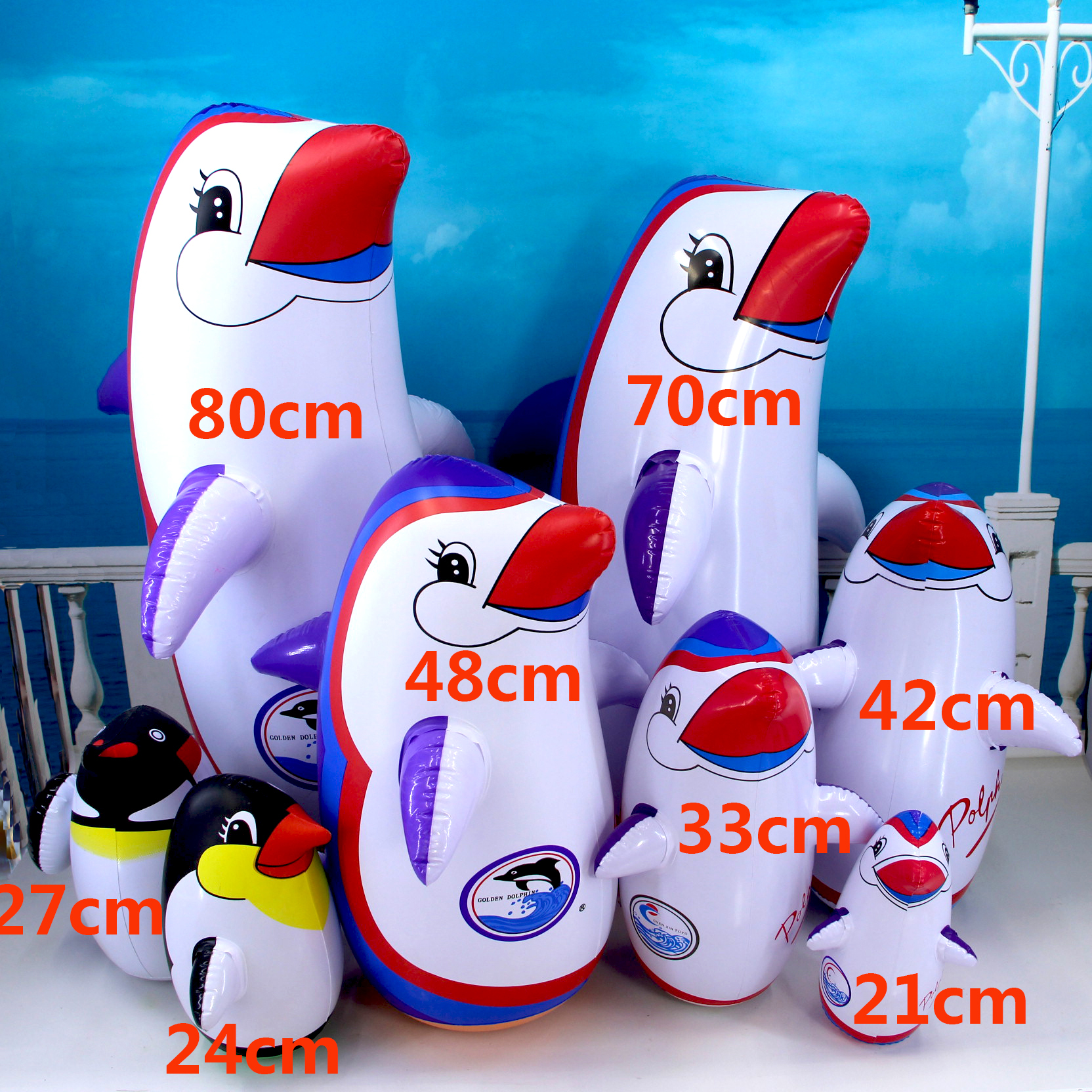 2016 lovely Inflatable 48cm roly-poly budaoweng penguin inflatable pvc toys kids baby best love gift free shipping(China (Mainland))