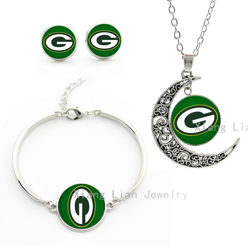 Elegant spring style big letters jewelry set Green Bay packers team rugby wedding party bride necklace earrings bracelet NF110(China (Mainland))