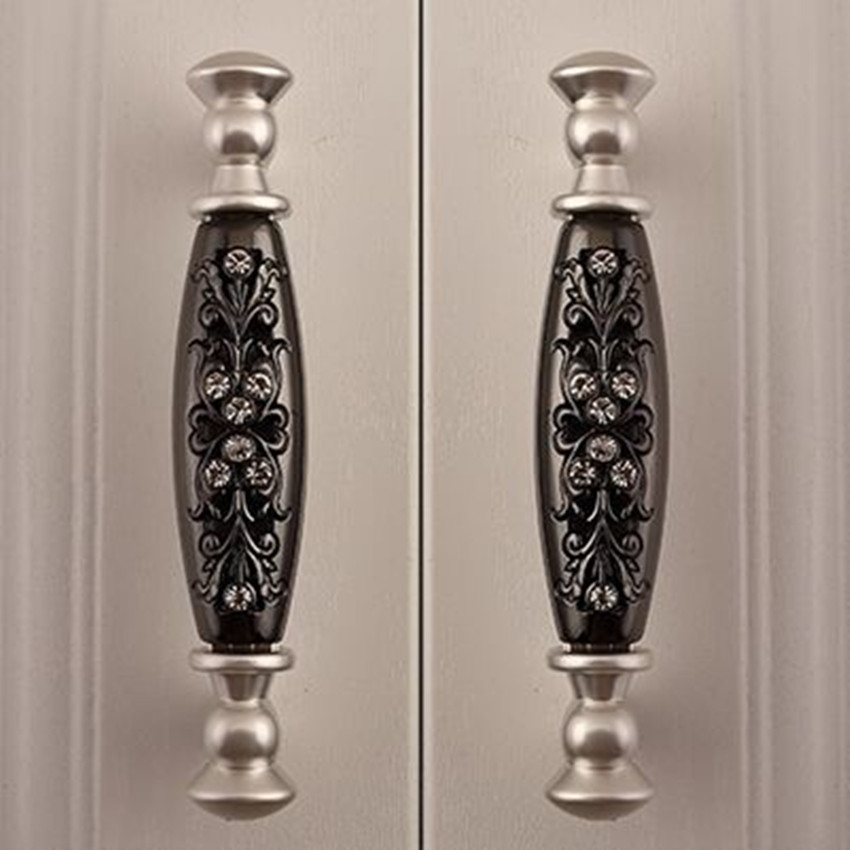 silver dresser pulls knobs black drawer cabinet handles knobs 96mm fashion deluxe modern glass diamond furniture hardware handle