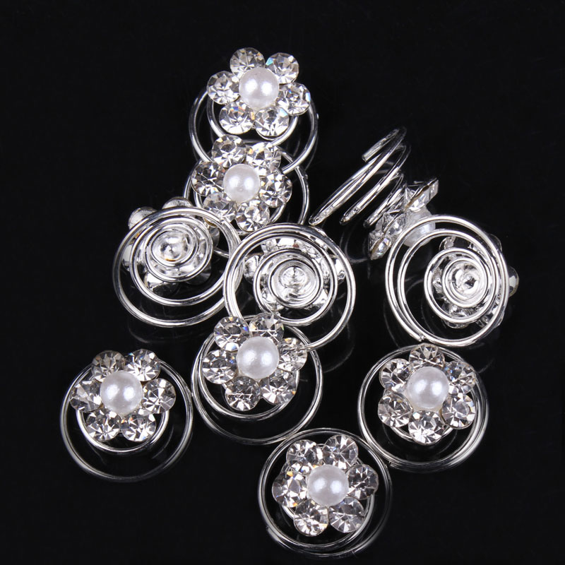 12 Pcs Hair Accessories Hiarpins Hairclips Crystal Flower Bridal Wedding Hair Pins Hairgrips Hair Clips For Bridal Bridesmaid(China (Mainland))