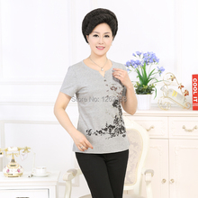 2015 new fashion summer middle age women short sleeve T-shirt mother clothing lady slim print cotton plus size top pullover(China (Mainland))