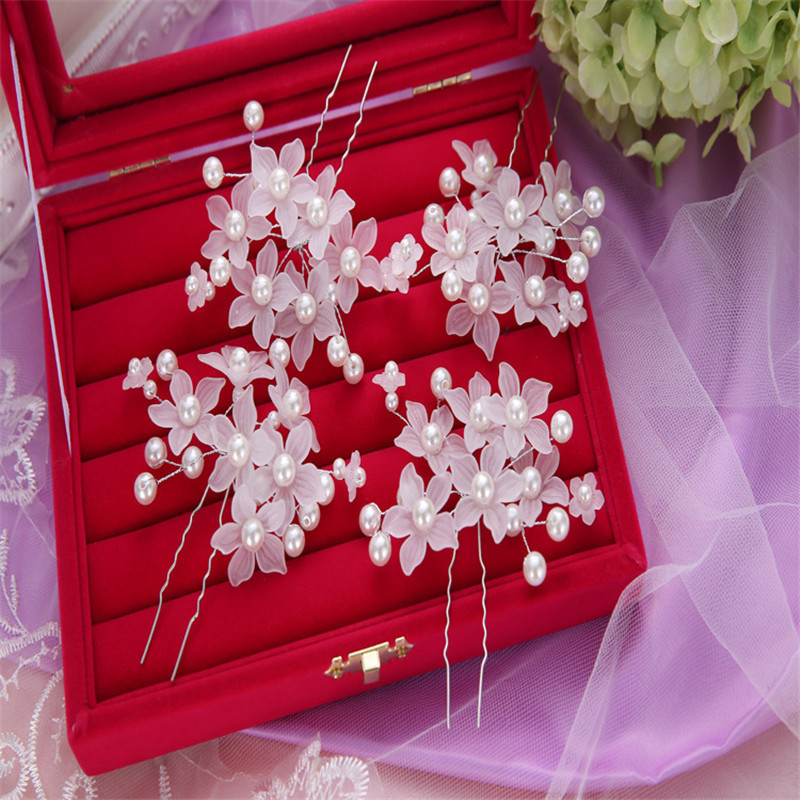 6pcs/lot Wedding Accessories Bridal Pearl Hairpins Flower Crystal Rhinestone Hair Pins Bridesmaid Women Head Jewelry Tiara Noiva(China (Mainland))