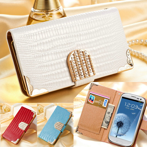 Wallet Shining Crystal Bling PU Leather Case For Samsung Galaxy S3 i9300 SIII Luxury Phone Bag Rhinestone Flip Cover BOB(China (Mainland))