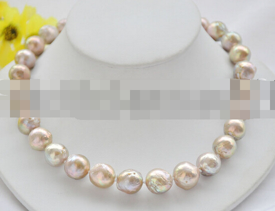 free shupping 08151 Big 15mm PEACOCK-LAVENDER ALMOST ROUND Edison KESHI PEARL NECKLACE (A0322)<br><br>Aliexpress