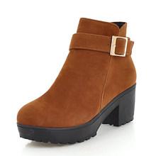 Karinluna 2019 top qualität dropship große größe 48 chunky heels stiefeletten frauen schuhe frau hinzufügen plüsch winter stiefel schuhe frau(China)