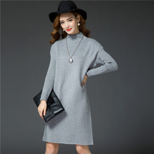 XJXKS Good Quality 2017 New Autumn Thick Dress Women Casual Fashion Winter Long-sleeved Solid Plus Size M-XXXL Sweater  Dress(China)