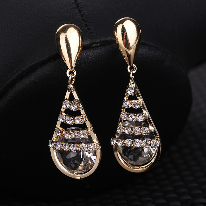 Design Zircon Earring Fashion Crystal Drop Women Accessories Boucles Pendientes BE111 - Q-Star Store (min order 1pc store)