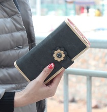 Cute Long Wallets Fashion PU Leather Hasp & Zipper 7 Colors Flower Women Clutch Wallet Coin Purses Card & ID Holder Phone Bags