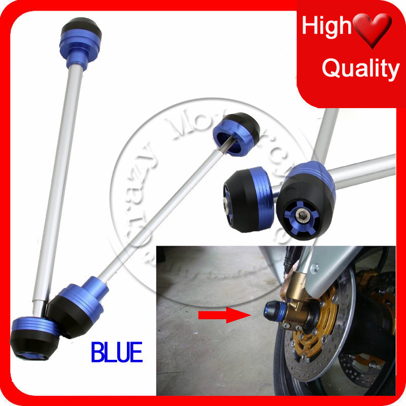 Fit For Suzuki Hayabusa GSXR1300 2008-2013 Front Rear Axle Fork Crash Sliders Cap Blue Motorcycle Falling Protection(China (Mainland))