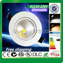 Wholesale Dimmable Recessed led downlight COB 15W 12W 9W 7W dimming LED Spot light led ceiling lamp AC110-220V Free shipping(China (Mainland))