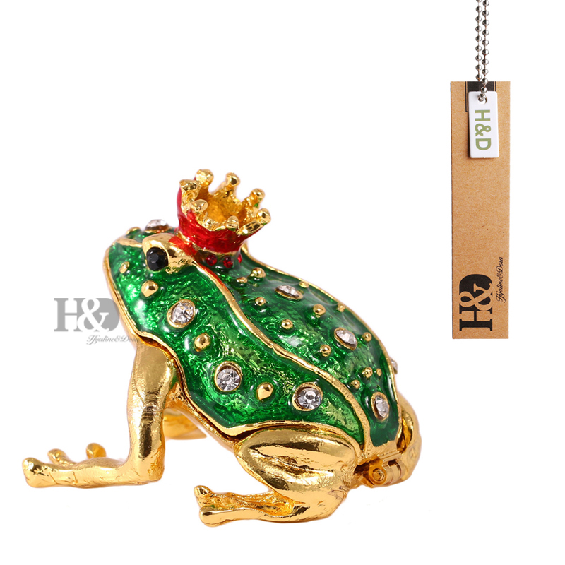 1.9'' Metal Figurine Frog Trinket Box Ring Holder Earring Jewelry Stands Storage Box Wedding Jewelry Case Souvenirs Gift Crafts(China (Mainland))