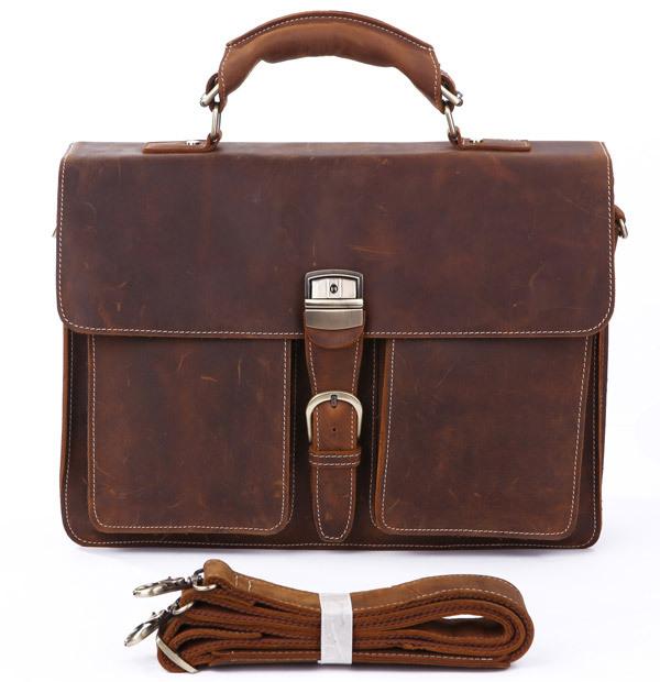 Crazy Horse Leather In Totes Bag  Men Briefcases Handbag Messenger Bag Portfolio Laptop<br><br>Aliexpress