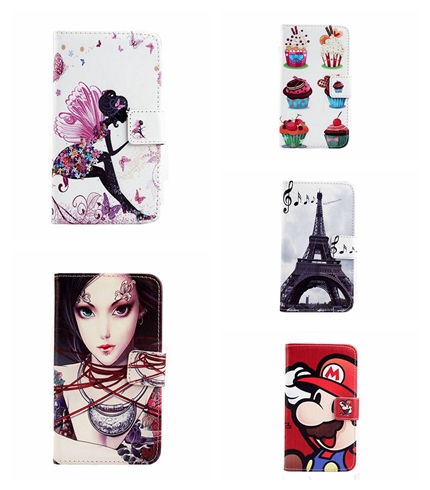 Hot Sale 5PCS/Lot Skin Pouch PU Leather Case Phone Case Painted Girl Book Style Stand Flip Cover For Samsung wifi 5.0/ G70(China (Mainland))