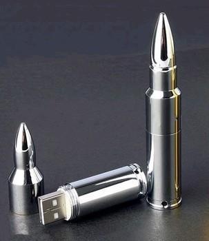 Free Shipping  Silver Metal Bullet 4GB 8GB16GB 32GB 64GB Swivel USB Flash Drive A-008