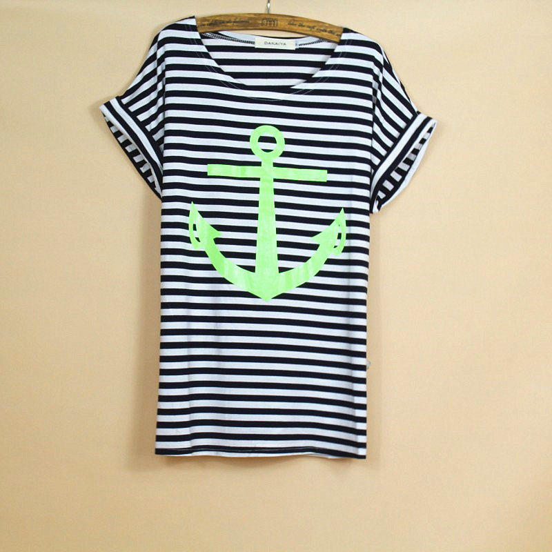 Embroidery Design Aliens T Shirts Women Short Sleeve Tee Shirt Comfortable Female Students Green Anchor T-shirts Teenagers(China (Mainland))