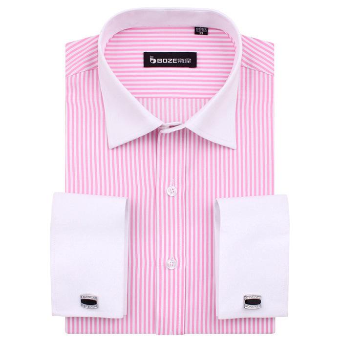 Online pink stripe business men 39 s shirt french cufflinks for Dress shirt for cufflinks