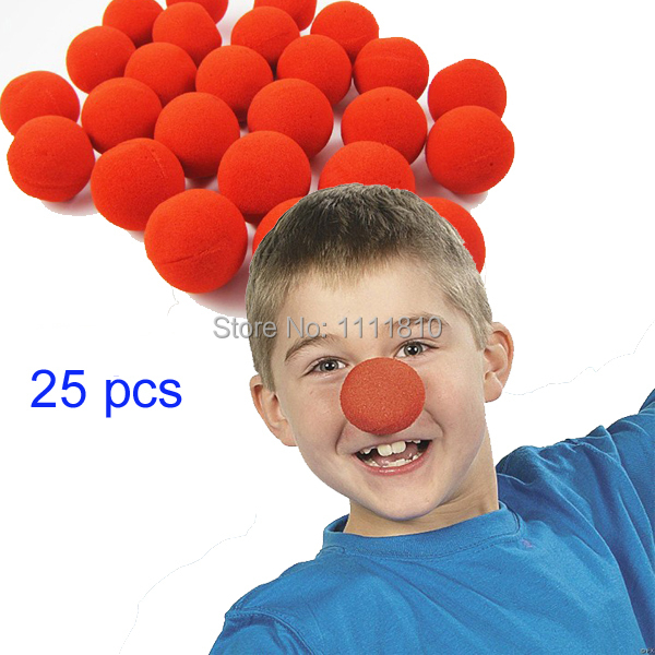 25pcs/lot 5cm RED Circus Clown Foam Nose sponge Comic Party Halloween Fancy dress Costume children holidays(China (Mainland))