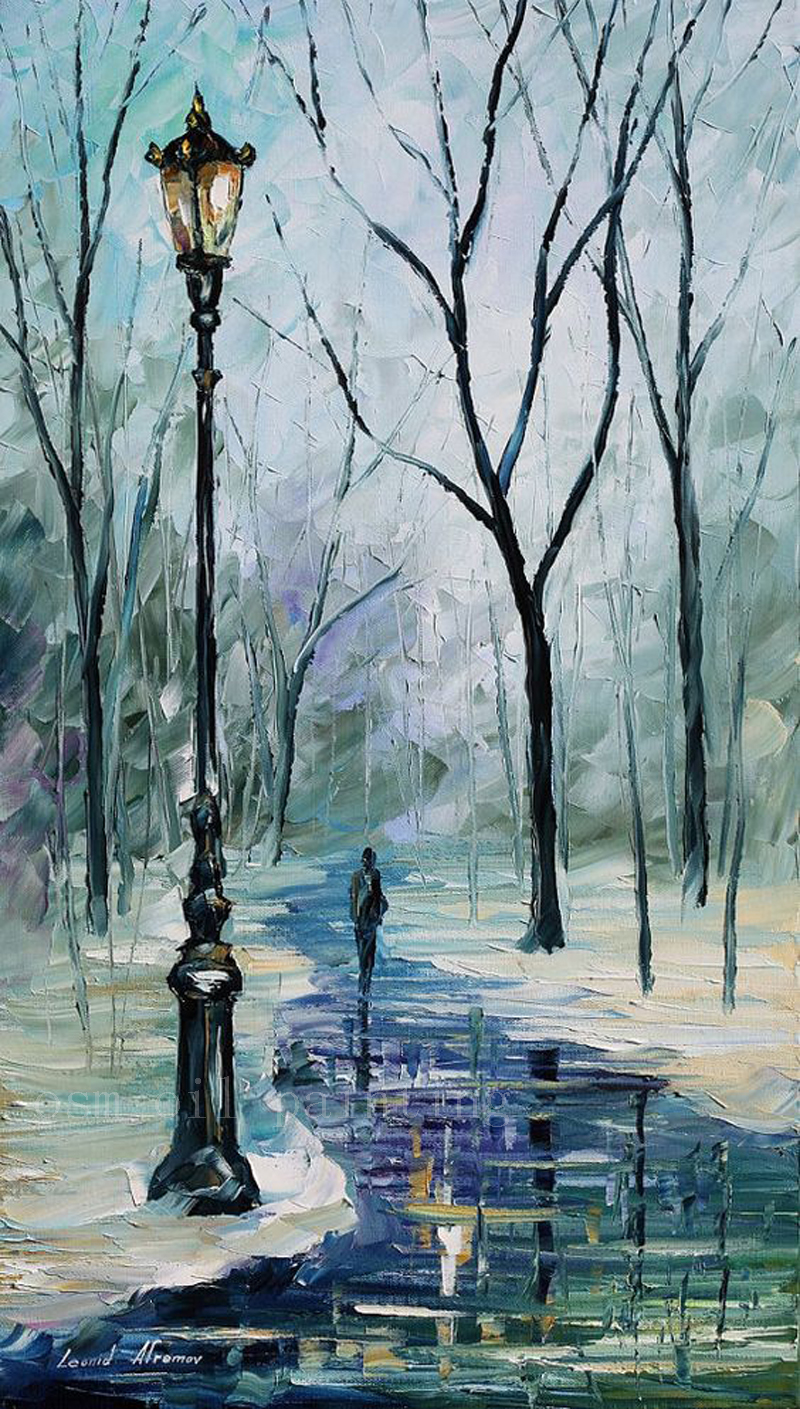 Handmade Modern Abstract Art Work Palette Knife Winter Alley Impressionism Oil Painting On Canvas Unique Christmas Gift Picture(China (Mainland))