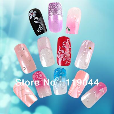 Free Shippiee 3D 144PCS/set 12 Styles Artificial Nail Tip Designs+ 1pcs nail glue For Fake Nail Tips NA243(China (Mainland))