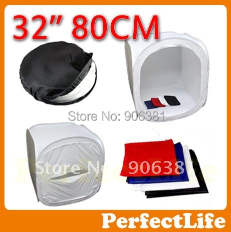 "32"" 80 x 80cm Light Tent Photo Softbox Cube Soft Box  With 4 Backdrops 1 Carry Case A042AZ003"