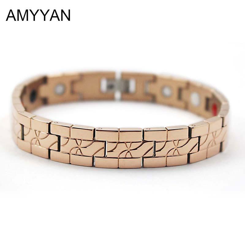 Real Rose Gold Plating V Care Blood Pressure Magnetic Bracelet Negative Ion Germanium Energy Bracelet for Women&Men(China (Mainland))