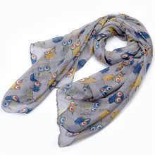 Lureme Fashion Cute Women Scarves Sweety Colorful Owl Printing Long Voile Scarf Party Clothing font b