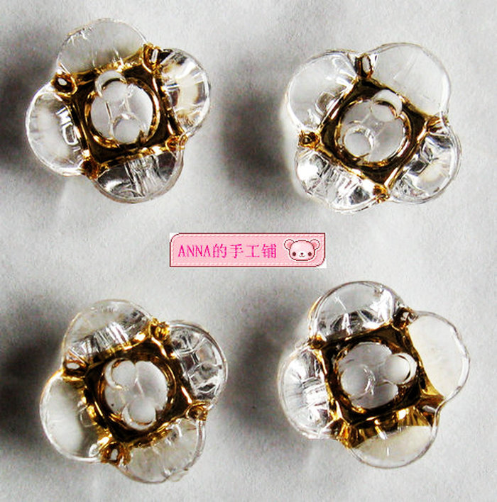 Free shipping Four petal quincunx bronzing acrylic 2 eyes button button bottom white 12mm 15mm(China (Mainland))