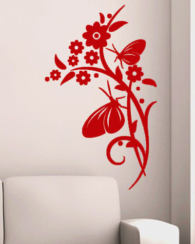 Hot Selling Wall Stickers Butterfly Flower Decorative Wall Accessories Living Room Wall Art(China (Mainland))