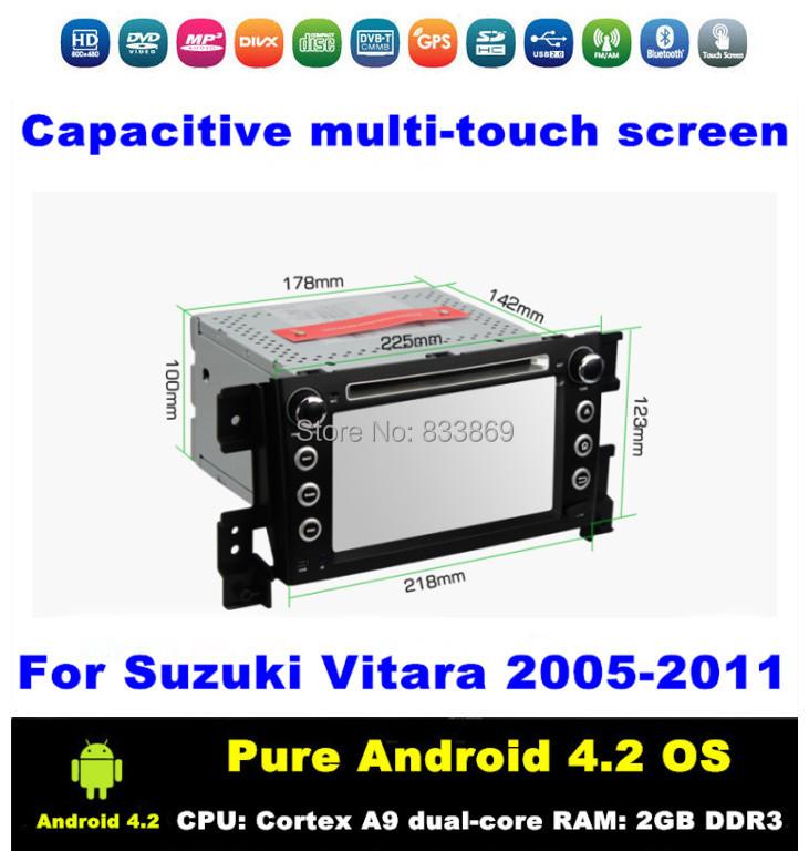 "Android 4.2 HD 2 din 7 ""Car DVD Car PC for Suzuki Vitara 2005-2011 With GPS Navi 3G/WIFI Bluetooth IPOD TV Radio / RDS AUX IN(China (Mainland))"
