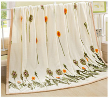 High Quality 2015 Fresh Dandelion Blanket Coral Fleece Flannel Home Throw Blankets Full Queen Cobertor Textile TZ0018(China (Mainland))
