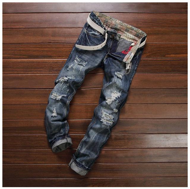 Европейский Американский Стиль 2016 мода люксовый бренд хлопка Мужчин случайные джинсовые ...