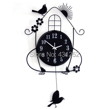 3D Big black wrought iron metal bird clock on wall watch