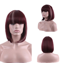 New Fashion Sexy Wine Red Neat Bangs Natural Full Wig Women's Cosplay Wigs Girl Gift  HB88(China (Mainland))