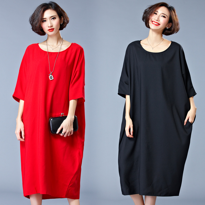 Women's Plus Size Dresses Casual Style Women Pure Color Red Black Short Sleeve Brief Big Sizes with Pockets Was Thin Dress 1042(China (Mainland))
