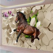 Modern photo wallpaper 3D stereoscopic Poqiang horses galloping into the room painting the living room TV backdrop restaurant