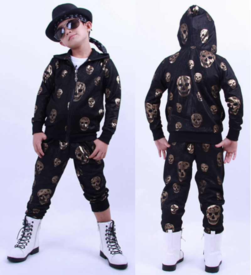 2015 Spring Autumn childrens clothing set Gold Skulls Print Costumes kids sport suits patchwork Hip Hop dance pant &amp; sweatshirt<br><br>Aliexpress