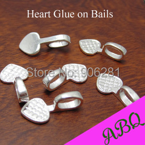 Shiny Silver BIG Heart Glue on Bails, Silver Plated Heart Bails for Glass or Scrabble Tile pendants(China (Mainland))